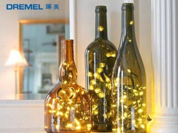 瓶子里倒出的光线,DIY创意玻璃瓶灯